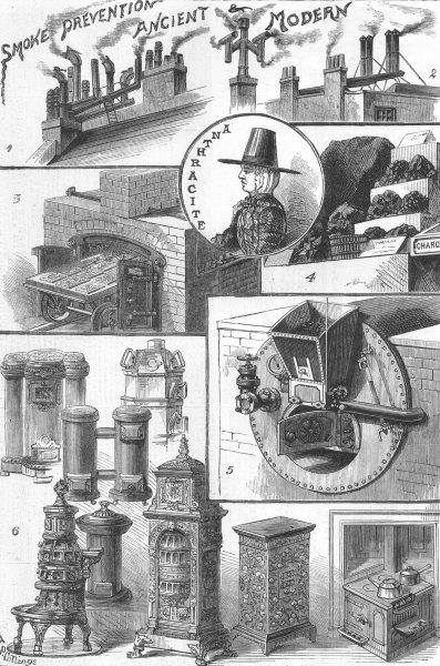 Associate Product LONDON. Smoke abatement exhibition, South Kensington, antique print, 1881