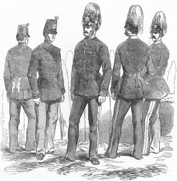 Associate Product MILITARIA. new uniforms for light troops & Cavalry, antique print, 1854