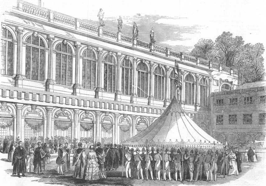 Associate Product CAMBS. breakfast below cloisters of Neville's-Ct, antique print, 1847