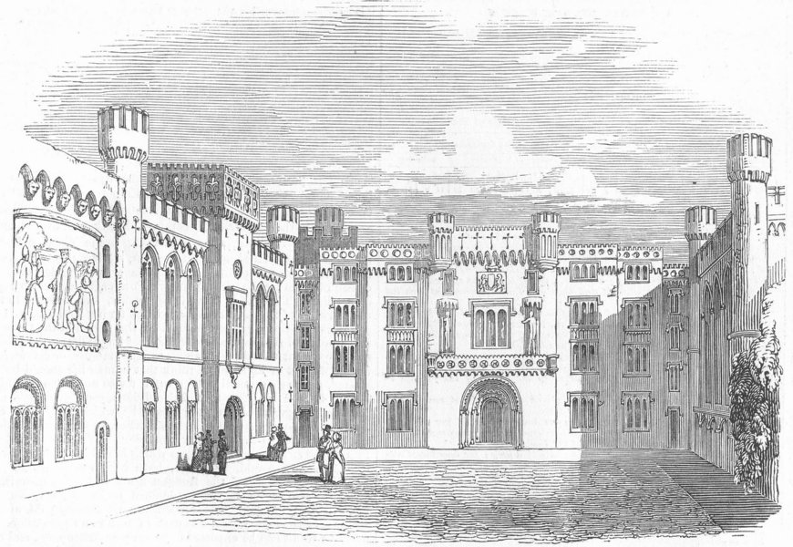 Associate Product SUSSEX. Arundel Castle-The Quadrangle, antique print, 1845
