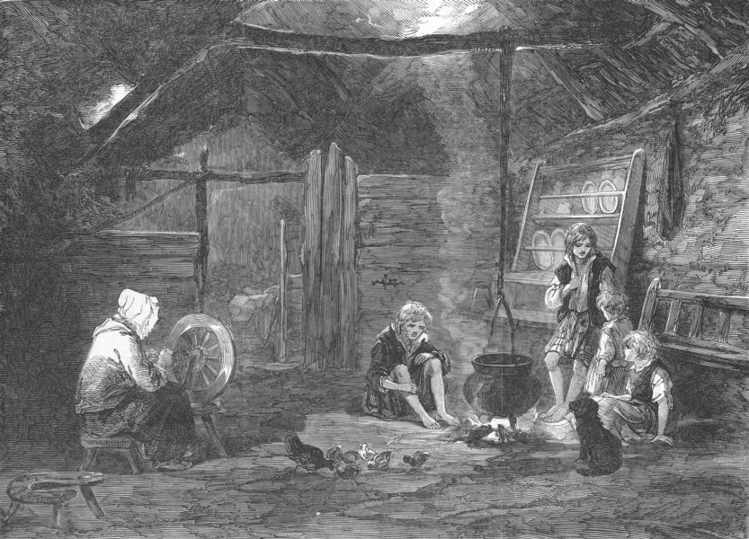 Associate Product Cottage interior, Isle of Skye. Scotland, antique print, 1853