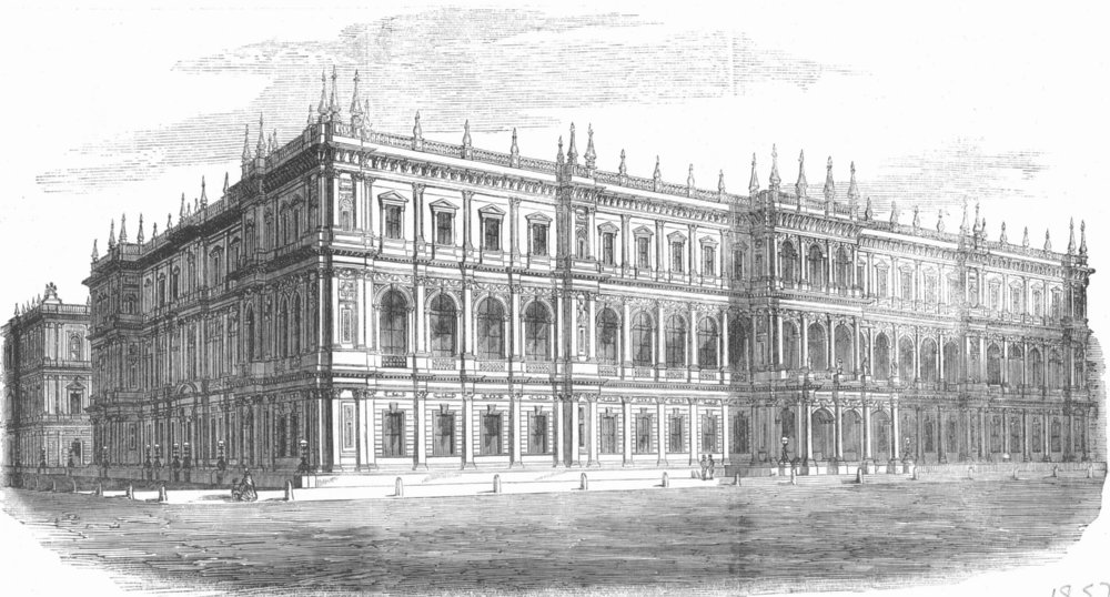 Associate Product FOREIGN OFFICE. 5th prize design(Thomas Bellamy) , antique print, 1857