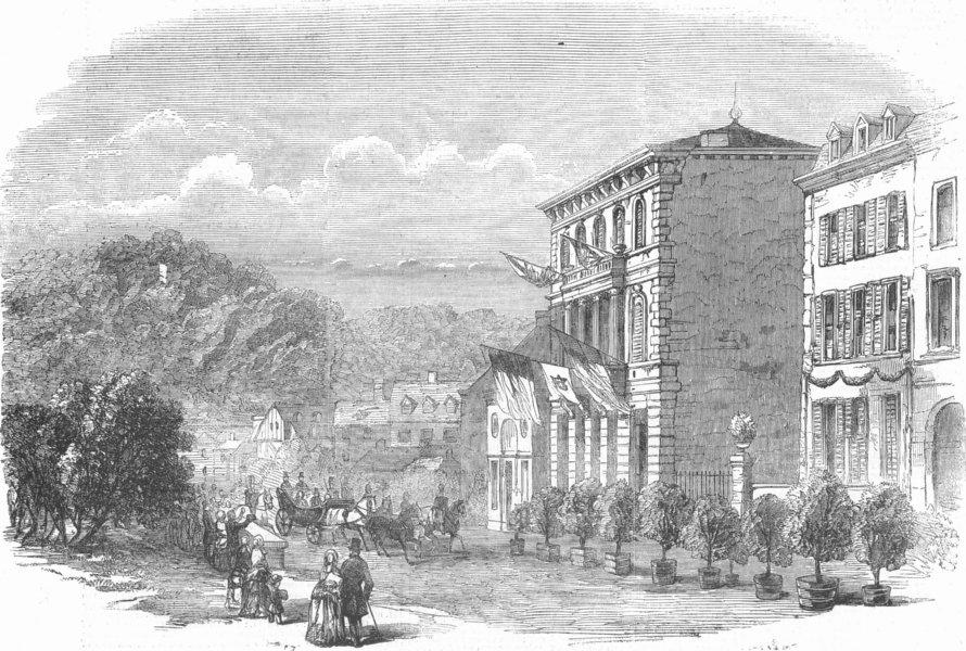 Associate Product BELGIUM. Spa-Arrival of Duke Brabant, antique print, 1856