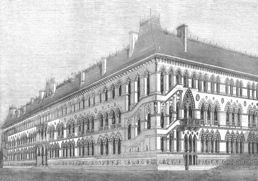 Associate Product FOREIGN OFFICE. 4th prize design(Deane & Woodward, ), antique print, 1857