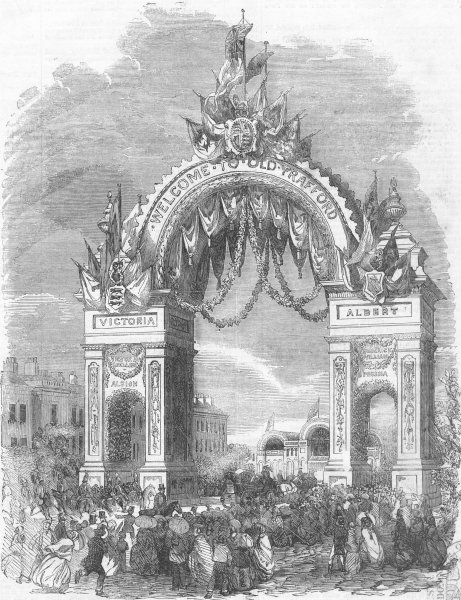 Associate Product LANCS. Triumphal Arch at old Trafford, antique print, 1857