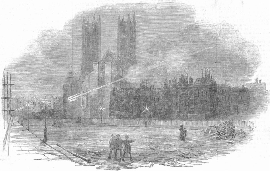 Associate Product LONDON. Meteor seen at Westminster, antique print, 1854