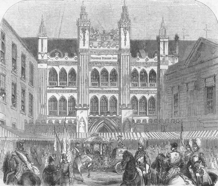 Associate Product LONDON. Guildhall of City of London, antique print, 1858