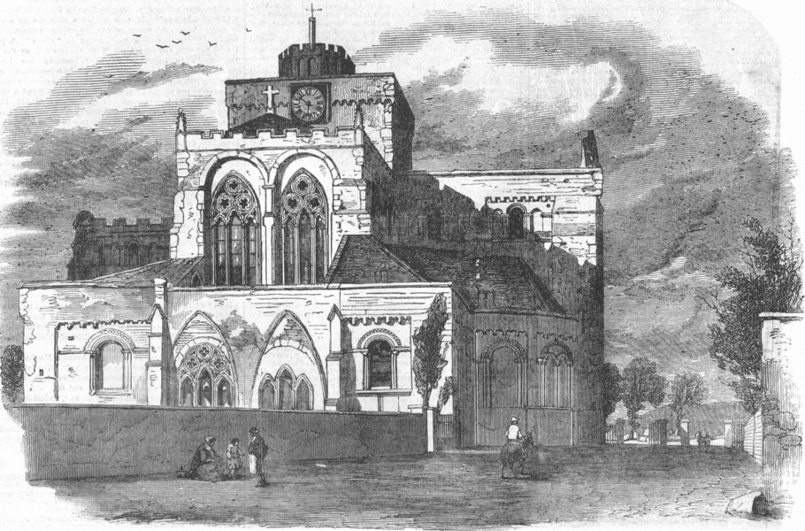 Associate Product HANTS. East front of Abbey Church, Romsey, antique print, 1855