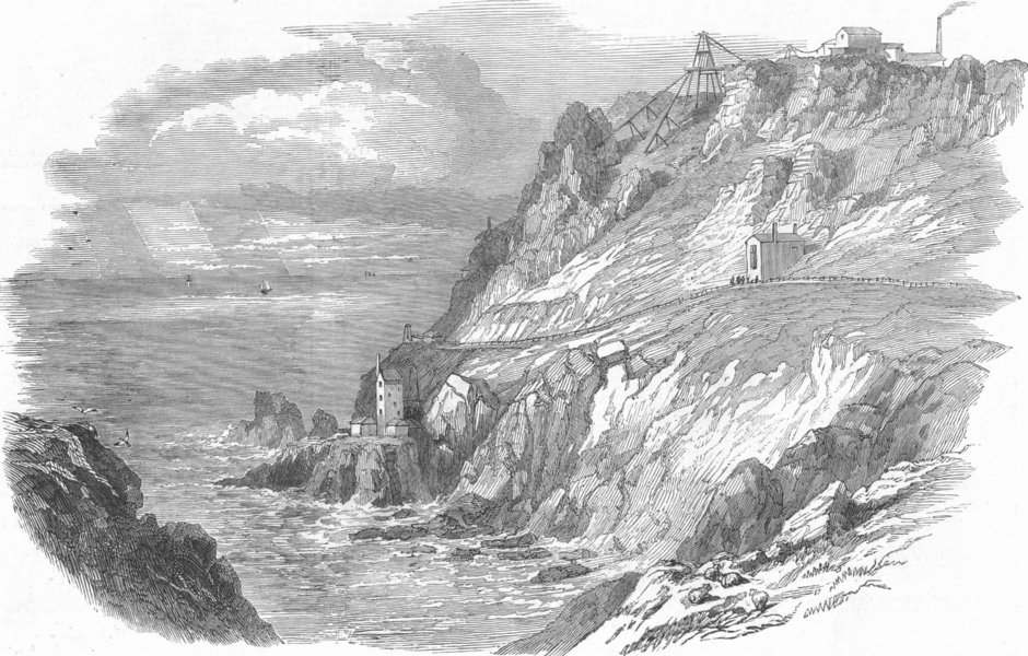 Associate Product CORNWALL. The Botallack Mine, Cornwall, antique print, 1852