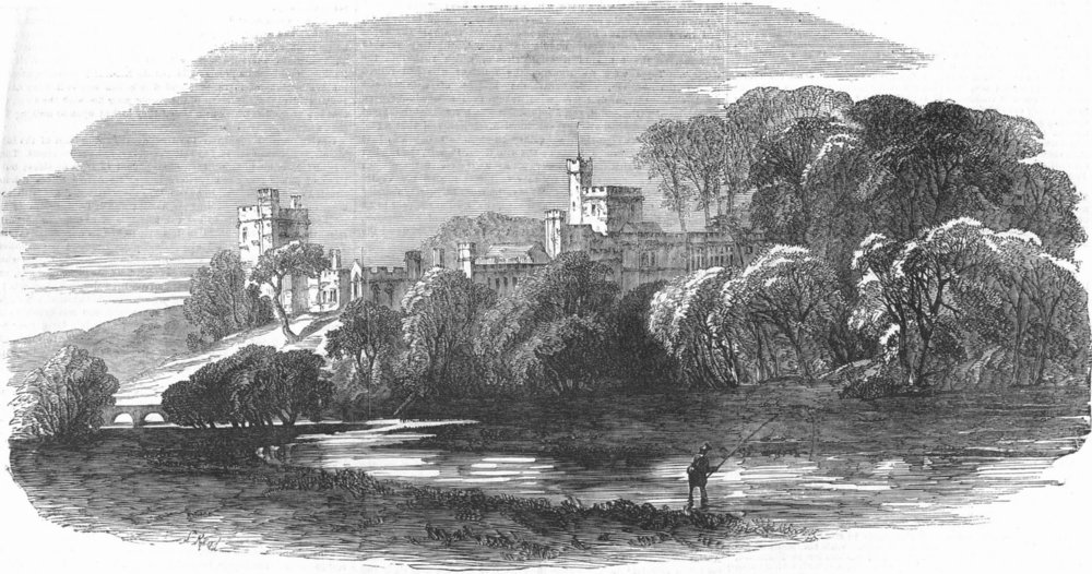 Associate Product DERBYS. Haddon Hall, from Deewell Rd, antique print, 1854