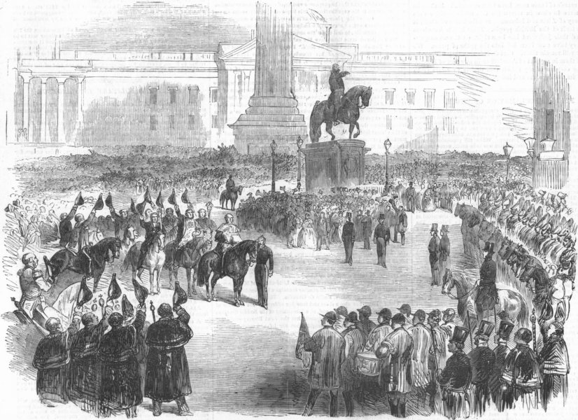 LONDON. Proclamation of peace, Charing-Cross, antique print, 1856