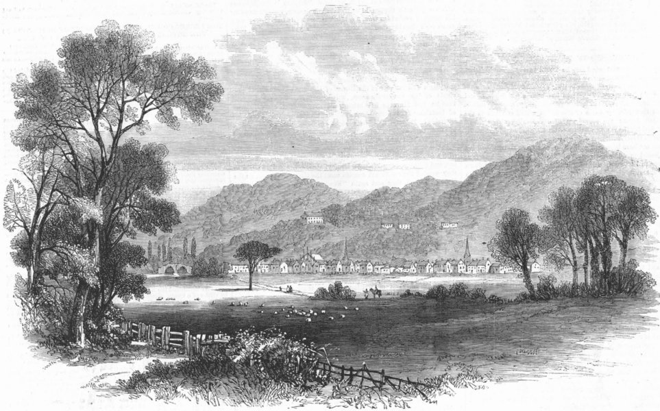 Associate Product SCOTLAND. The Bridge of Allan, N B, antique print, 1858