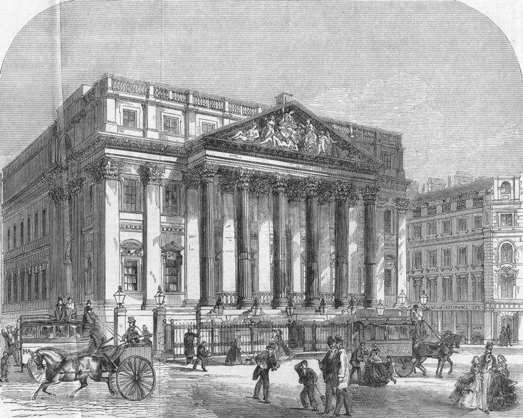 Associate Product LONDON. Mansion House, antique print, 1858