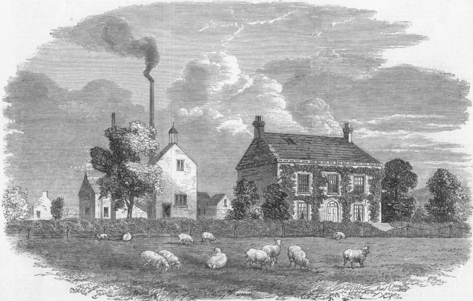 Associate Product LANCS. Bright's birthplace, Rochdale, antique print, 1859