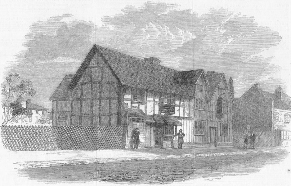 Associate Product STRATFORD, AVON. Shakespeare's Birthplace, , antique print, 1859