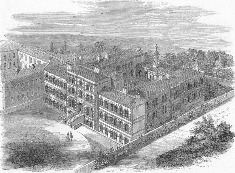 Associate Product BROMPTON. Cancer Hospital , antique print, 1859