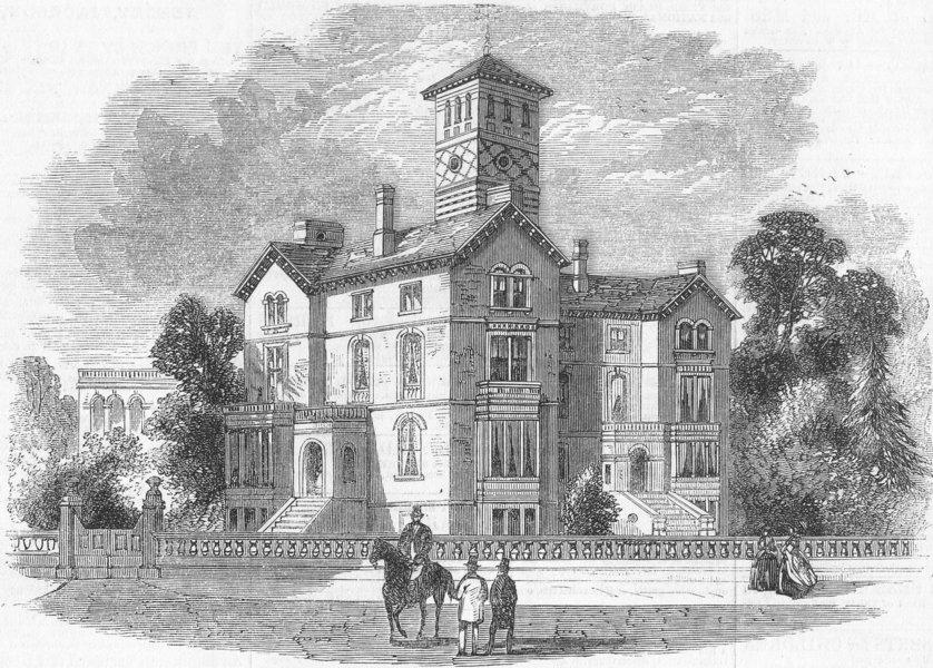 Associate Product LONDON. Highbury New Park Collegiate School, antique print, 1858