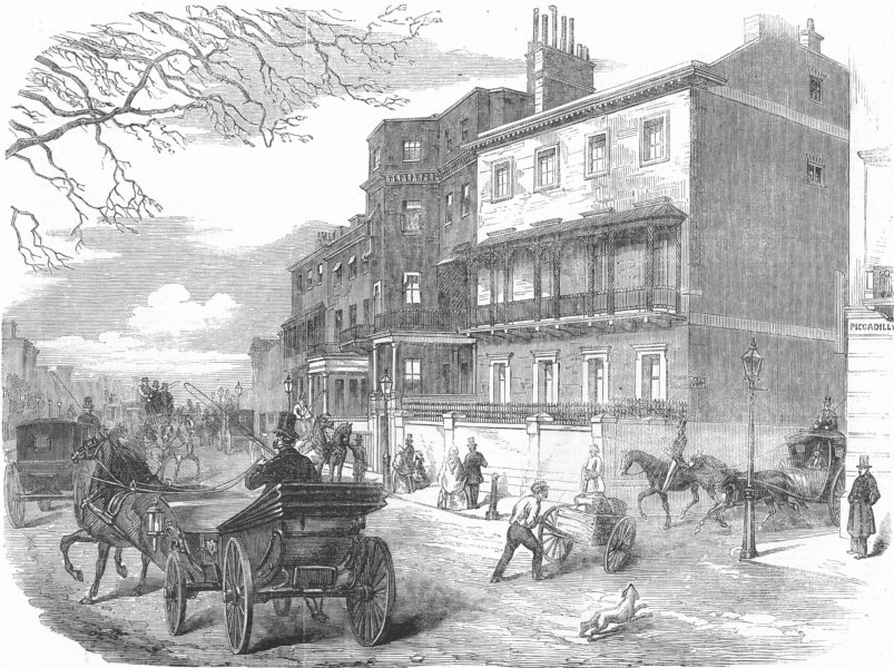 Associate Product GLOUCESTER HOUSE. Piccadilly, of Duchess, antique print, 1857