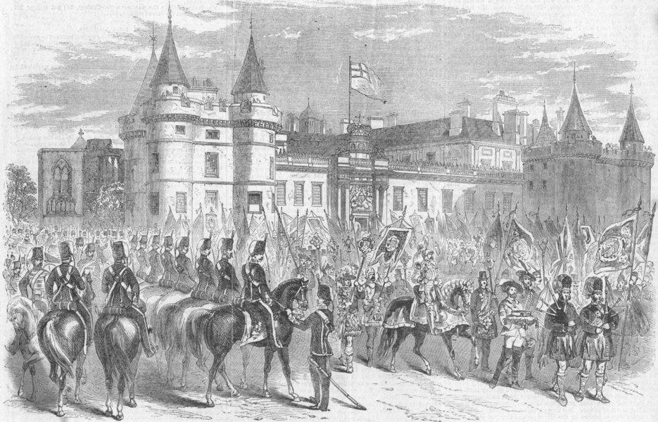 Associate Product HOLYROOD. Freemasons parade leaving House, Edinburgh, antique print, 1858