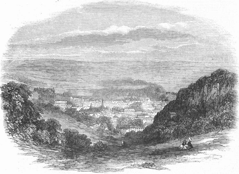 Associate Product BELGIUM. Spa-General View, antique print, 1856