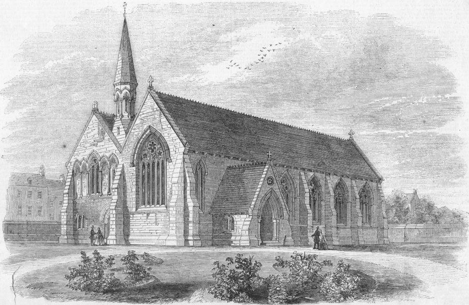 Associate Product DONCASTER. St Jamess Church, Scott , antique print, 1858