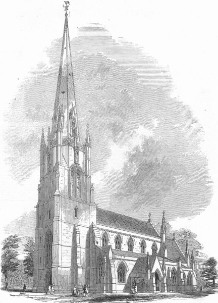 Associate Product EALING. Christ Church, founded by Miss Lewis, antique print, 1858