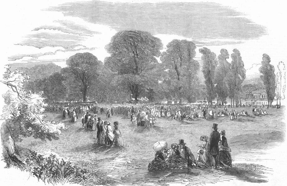 Associate Product LONDON. Rural fete at Ham, antique print, 1852