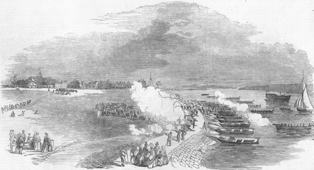 Associate Product SHEERNESS. Dockyard Brigade attacking Queenborough, antique print, 1852
