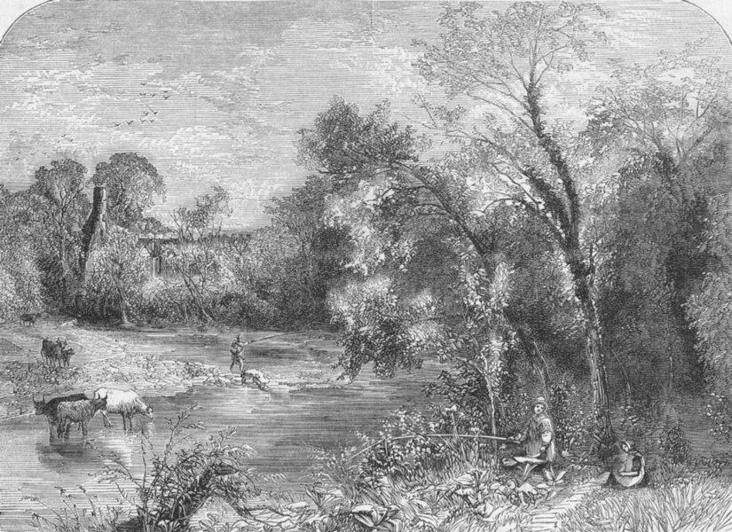 BOLTON. River Wharfe, below Abbey, Yorks, antique print, 1859