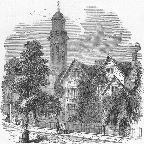 Associate Product OXON. Banbury. Church & Parsonage , antique print, 1859