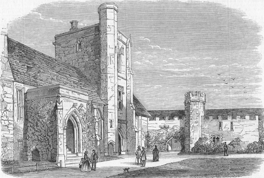 Associate Product HANTS. Beaufort Tower, Winchester Cathedral, antique print, 1859