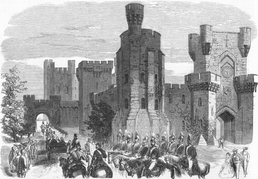 Associate Product WALES. Queen's visit to Penrhyn Castle, antique print, 1859