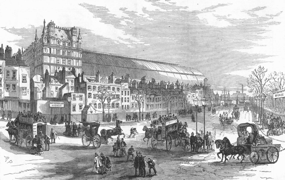 Associate Product LONDON. Northumberland Ave from Charing-Cross, antique print, 1876