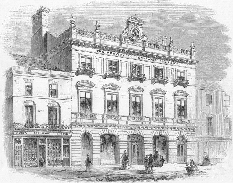 Associate Product WREXHAM. Planned Welsh Insurance Co premises , antique print, 1859
