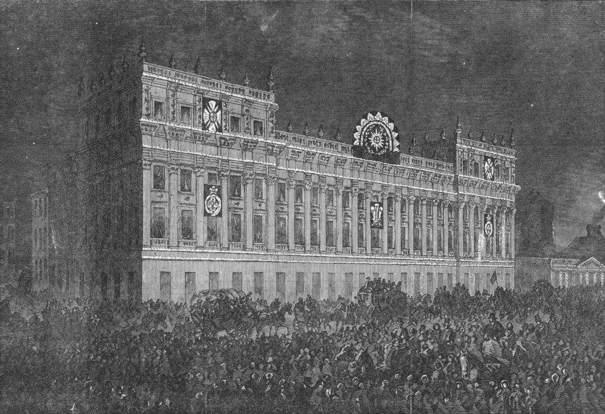 LONDON. Illumination of Treasury, Whitehall, antique print, 1863