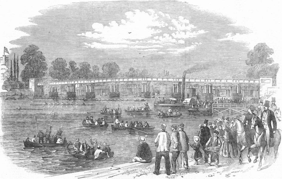 Associate Product LONDON. Thames regatta-start for gold cup, antique print, 1856