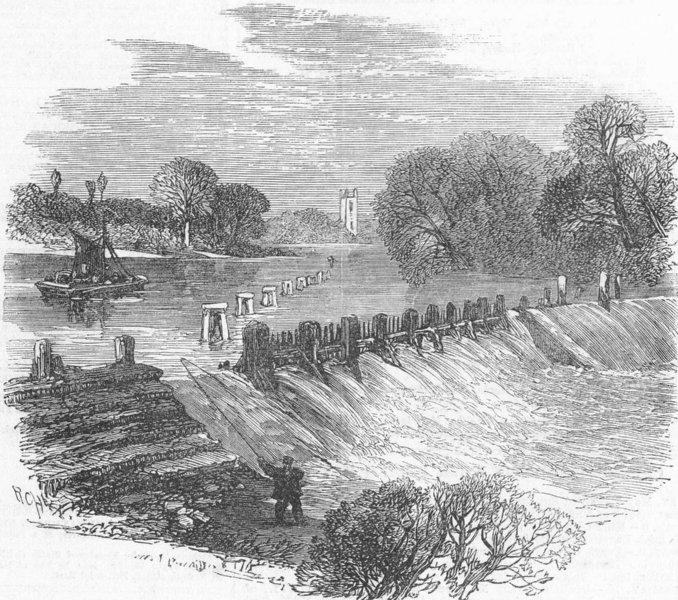 Associate Product LONDON. Angling. Fish-Ladder, Hampton, antique print, 1865