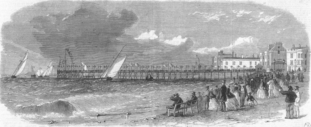 Associate Product The new pier at Bognor, Sussex, antique print, 1865
