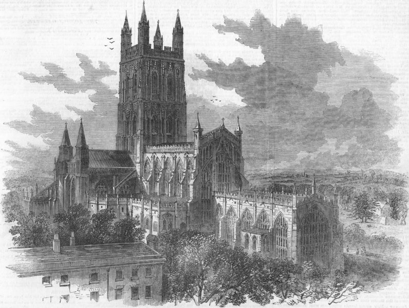 Associate Product GLOS. Gloucester Cathedral-East, antique print, 1856