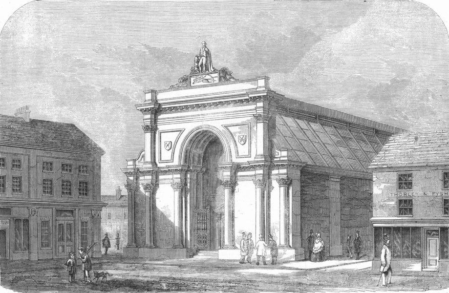 Associate Product NORFOLK. New Corn-Hall, East Dereham, antique print, 1857