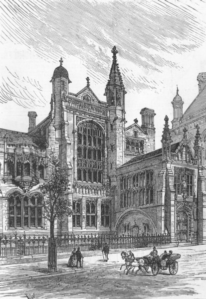 Associate Product SION COLLEGE. New building, Thames Embankment, antique print, 1886