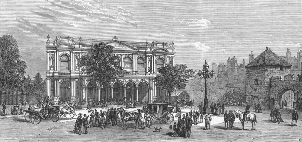 Associate Product YORKS. Fine-Art & Industrial Exhibition. Front entry, antique print, 1879