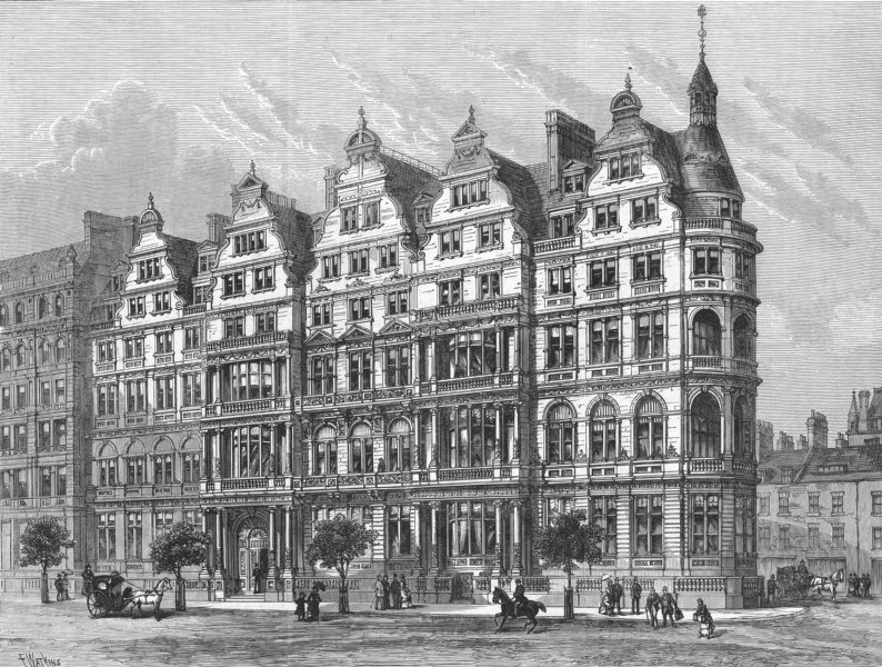 Associate Product NORTHUMBERLAND AVE. Constitutional Club , antique print, 1885