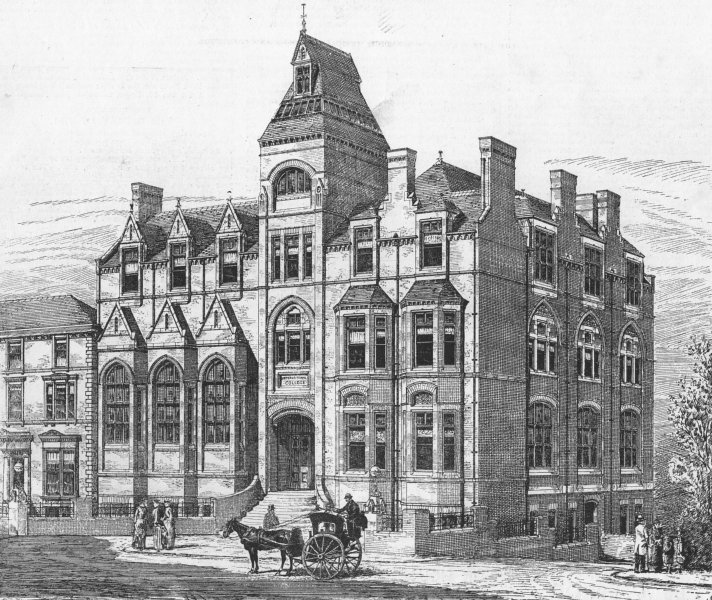 Associate Product WEST HAMPSTEAD. Haysman's new College, Finchley Rd , antique print, 1885
