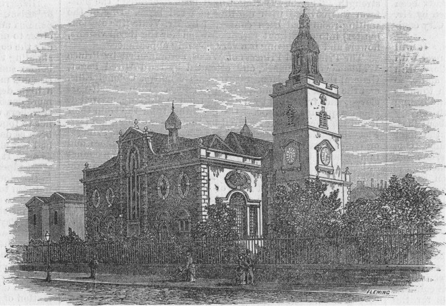Associate Product LONDON. Old Whitechapel Church, antique print, 1875