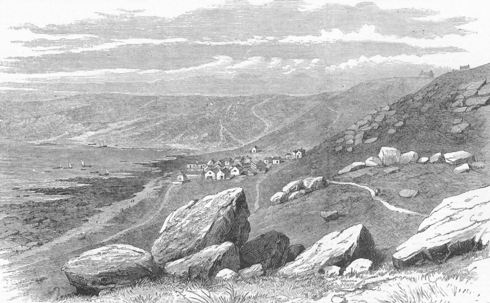 Associate Product LAND'S END. Whitsand Bay, Cornwall, Atlantic cable, antique print, 1881