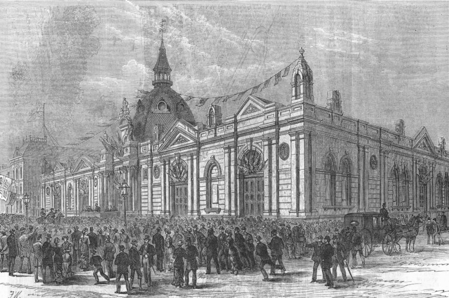 Associate Product LANCS. Opening new Market-Hall, Southport, antique print, 1881