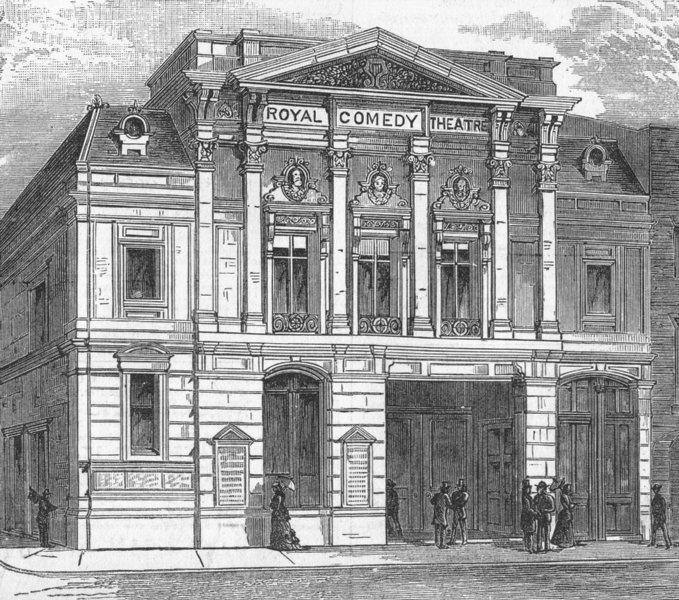 Associate Product HAYMARKET. Royal Comedy Theatre, Panton Street. London, antique print, 1881
