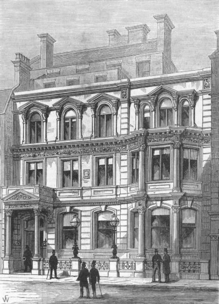 Associate Product LONDON. New building of city Carlton Club, antique print, 1880
