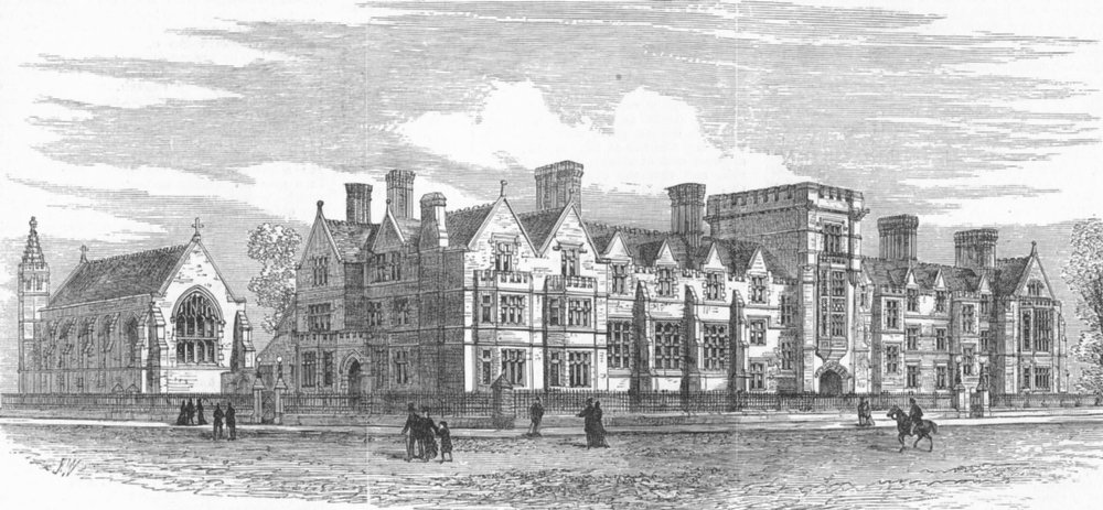 Associate Product CAMBRIDGE. Ridley Hall, for Theology Students, antique print, 1881